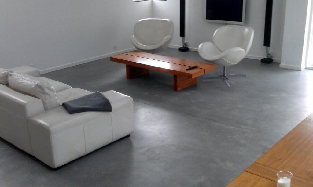 Poleret betongulv – designgulv i stue