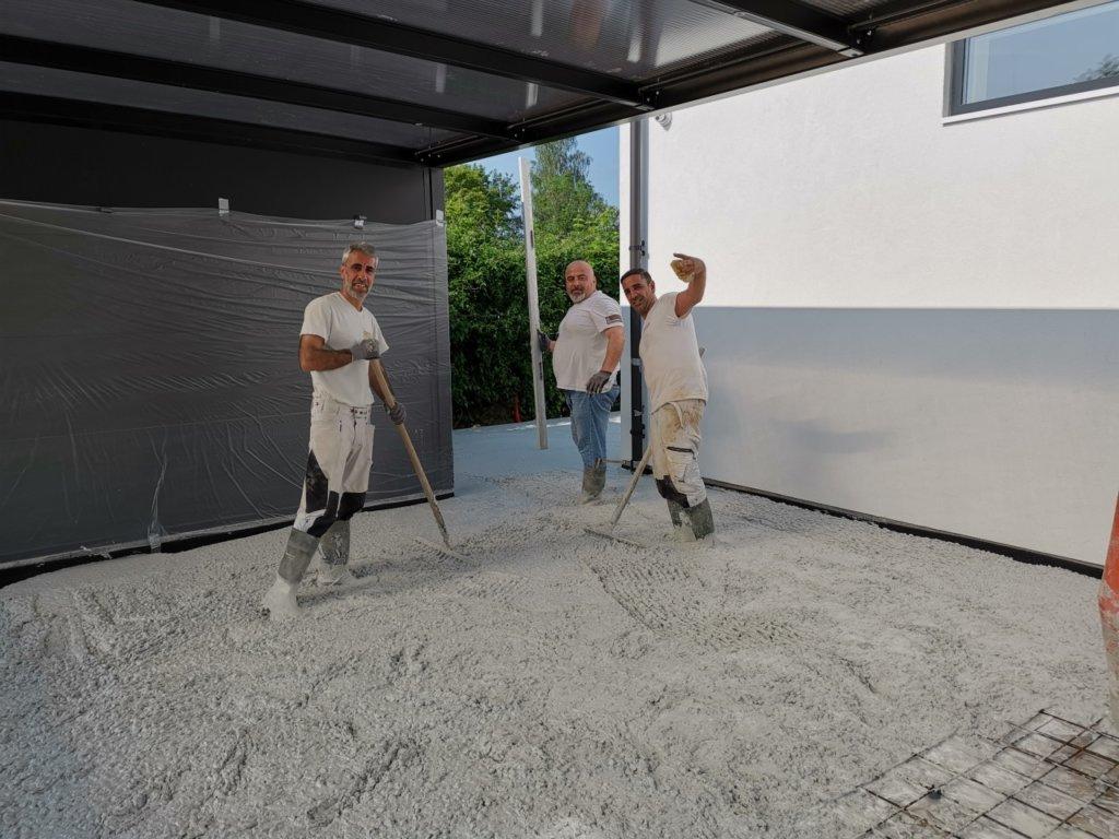 Støbning af betongulv terrasser